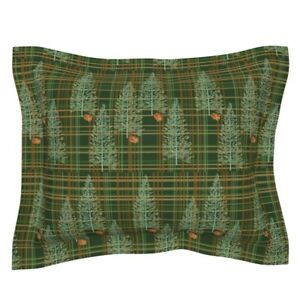 Pinecone Forest Woods Evergreen Tree Plaid Tartan Pillow Sham by Roostery