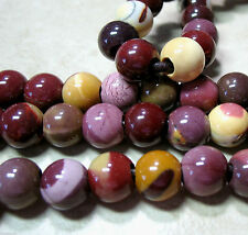 """Mookaite Jasper 12mm Round Large 4mm Hole Beads 8"""" Gold Yellow Red Mauve"""