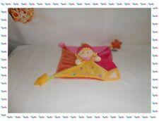 ♣ - Doudou Plat Carré Fille Rose Orange Jaune Etoiles Dentition Mots d'Enfants