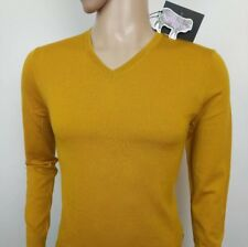 7fa50667ede380 Ted Baker Mens Jumper Yellow Merino Wool Crew Sweater Size 1 UK XS