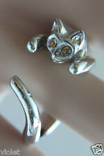 Silver cat ring with gold eyes NEW wraparound open ring, adjustable to fit all