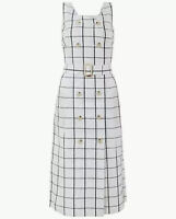 MARKS AND SPENCER CHECKED PURE LINEN WAISTED DRESS SIZE 12 PETITE BNWT