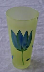 BODA DESIGN KOSTA BODA FROSTED YELLOW GLASS BLUE TULIP VASE ULRICA HYDMAN 25CM