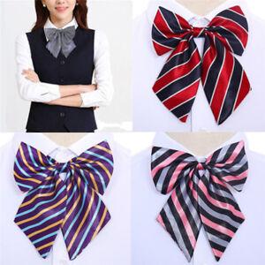 Women Bowties Striped Bow Ties Silk Tie Bow Tie Butterfly Neck Wear Collar 3BDA