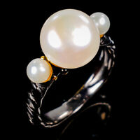 Handmade Natural Pearl 925 Sterling Silver Ring Size 8/R125676