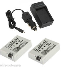 2 Battery with Charger for LP-E8 Canon Rebel T2i T3i T4i EOS 550D 600D 650D 700D