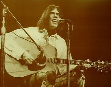 "Neil Young Poster Print - On the Mic w/ Guitar Photo - Folk Rock - 11""x14"" Sepia"