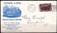 US 1893 2c COLUMBUS ISSUE Sc. 231 ON HOME LIFE INSURANCE CO. ADVERTISING COVER