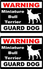 2 warning Miniature Bull Terrier guard dog bumper home car window vinyl stickers