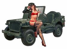 HOT ROD Military Jeep Pin Up Girl Metal Sign MAN CAVE BODY SHOP GARAGE HB274