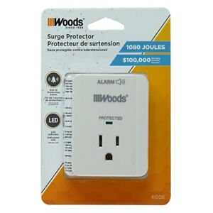 Woods 41008 Surge Protector One 3-Prong Power Outlet LED Indicator Light & Alarm