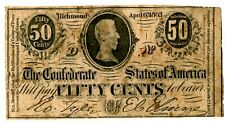 Confederate States of America  … P-56 … 50 Cents … 1863 … *VG+*.