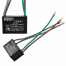 2-Pack Motor Ceiling Fan Capacitor CBB61 5uf+5uf 4-Wire Rated Voltage: 250VAC