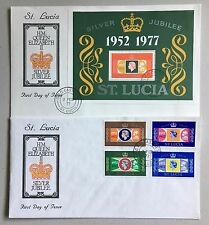 St. Lucia 1977 Silver Jubilee 2 FDC covers with sets of 4 and miniature sheet
