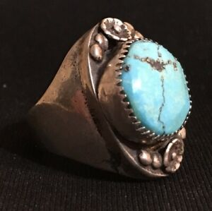 Turquoise and silver ring size 10.5 round 18mm stone - heavy 20 grams southwest