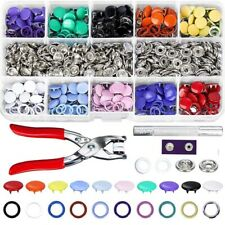 Press Studs Buttons Rings Snap Fasteners Metal Grommet Tool Kit With Pliers
