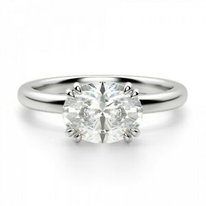 2.00 Ct Oval Cut Diamond Wedding Ring 18K White Gold ring All Sizes
