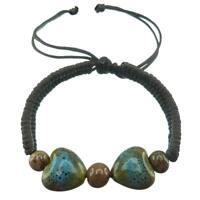 Bracelet femme Perles coeur porcelaine bleu vert St Valentin marron tresse
