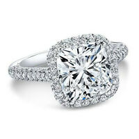 2.40 Ct Natural Cushion Halo 3 Row Micro Pave Diamond Engagement Ring - GIA Cert