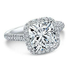3.90 Ct Natural Cushion Halo 3 Row Micro Pave Diamond Engagement Ring - GIA Cert