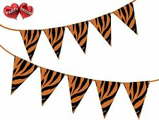 Safari Animal Tiger Themed Bunting Banner 15 Flags for Simply Stylish Party Deco