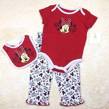 3pc Disney Baby Girls 3-6M I Love Minnie Mouse Top Pants Bib Red Infant Gift Set