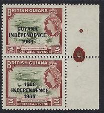 GUYANA : 1967 overprint  on 3c '1966 ' for 'GUYANA' variety SG 422a MNH pair