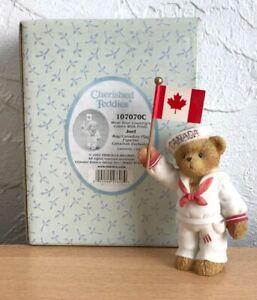 Cherished Teddies 107070C collectable JOEL Boy Canadian flag bear Exclusive VGC