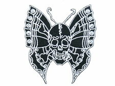 Rockabilly Skull Butterfly Biker Iron On Embroider Shirt Badge Patch 3""