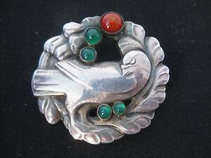 Vintage 925 Silver Georg Jensen Brooch Pin #165  Amber & Green Agate Dove