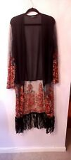 Long, embellished, black chiffon kimono with fringes, by Boohoo. Size Large