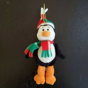 "Gund Plush Penguin Christmas Ornament 6"" Tall Plaid Scarf Hat Stuffed Toy Lovey"