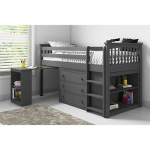 Windermere Midsleeper Bed in Dark Grey with Pull Out Desk