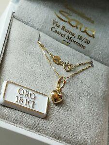 Collana veneziana e ciondolo cuore bombato in oro giallo 750 18 kt NUOVO