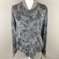 Knox Rose Women's Printed Floral Zip Up Bomber Jacket Faded Look Asian Zen NEW