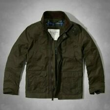 NWT ABERCROMBIE & FITCH A & F Men's COOPER KILN WAXED COTTON JACKET in OLIVE ~ L