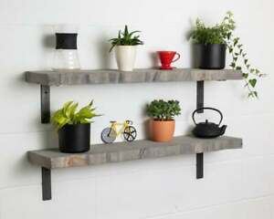 Grey Live Edge-Thick- Non Lipped-Wax Finish-Rustic Shelves Handcrafted