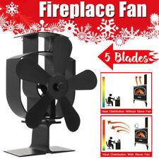 Fire Place 5-Blades Stove Fan Wood Log Burner Fuel Saving Heat Efficient Home