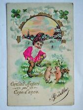 CAPO D'ANNO GNOMO dwarf nano elf gnome elfo quatrefoil old postcard AK