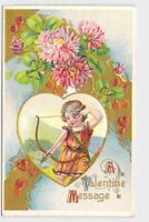 ANTIQUE VINTAGE VALENTINE POSTCARD HEARTS CUPID ANGEL SERIES A.C. WITH BOW AND A