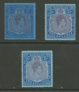 BERMUDA SG116 c,d & f 3 DIFFERENT GVI 2/- KEYPLATES MNH CAT £45