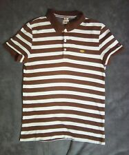 S 36 inch TOMMY HILFIGER brown white stripe polo shirt short sleeve vintage top