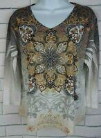 Jess & Jane U.S.A Women's ShIrt 3/4 Sleeve Rhinestone  Floral Print Size MP