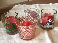 Lot of 4 Votive Glass Christmas Candle Holders w/ Candles-Wreath Snowman Bubble