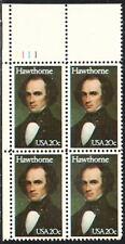 US #2047 20¢ Nathaniel Hawthorne Plate Block MNH