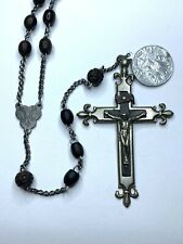 """† XL ANTIQUE NUN'S HAND HELD CARVED BOVINE & WOOD ROSARY 42"""" ST MARY MEDAL †"""