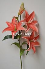 Coral Tiger Lilies Natural Real Touch Flowers For Wedding Bouquets Centerpieces