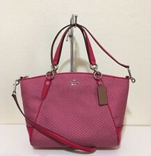 Coach F57244 Small Kelsey Satchel In Legacy Jacquard Milk/Bright Pink