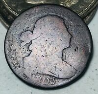 1803 Draped Bust Large Cent 1C Small Date & Fraction Good US Copper Coin CC5553