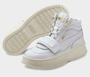 A-49  Puma Deva High Top White Sneaker Boots For Women Size 9